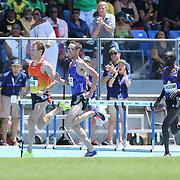 Ben True, (left), USA, winning the Men's 5000m competition from Nick Willis, New Zealand during the Diamond League Adidas Grand Prix at Icahn Stadium, Randall's Island, Manhattan, New York, USA. 13th June 2015. Photo Tim Clayton