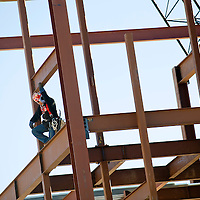 010313       Brian Leddy<br /> Stanford Warner of Structural Services works on the framing of the Magistrate Court building Thursday morning. Construction recently started on project.
