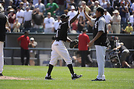 CHICAGO - JULY 08:  Juan Pierre #1 celebrates with Freddy Garcia #43 of the Chicago White Sox after the game against the Los Angeles Angels of Anaheim on July 8, 2010 at U.S. Cellular Field in Chicago, Illinois.  The White Sox defeated the Angels 1-0.  (Photo by Ron Vesely)