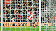 Southamptons Graziano Pelle makes it 2-0 during the Capital One Cup match between Southampton and Aston Villa at the St Mary's Stadium, Southampton, England on 28 October 2015. Photo by Adam Rivers.