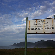 """Large sign """"You are entering the tribal lands of te Whanau a Apanui' Just before Hawaii, on the East cape drive, North Island, New Zealand. 19th January 2010. Photo Tim Clayton.."""