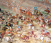 Army of Muhammed IX, (Nasrid Sultan of Granada), at the Battle of Higueruela 1431. Shown as part of a series of fresco paintings by Fabrizio Castello, Orazio Cambiaso and Lazzaro Tavarone. Displayed in the Gallery of Battles, at the Royal Monastery of San Lorenzo de El Escorial, Spain.