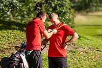 HILVERSUM - Germany vs Austria (2,5-0,5)  Jannik de Bruyn (r)  and Nick Bachem during the foursomes. Quarter finals. ELTK Golf 2020 The Dutch Golf Federation (NGF), The European Golf Federation (EGA) and the Hilversumsche Golf Club will organize Team European Championships for men. COPYRIGHT KOEN SUYK