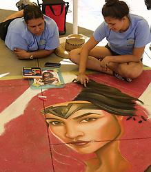June 18, 2017 - Los Angeles, California, U.S - Artists work on their pieces during the Pasadena Chalk Festival on Paseo Colorado. (Credit Image: © Ringo Chiu via ZUMA Wire)