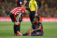 Barcelona´s Neymar Jr (R) and Athletic de Bilbao´s Markel Susaeta during 2014-15 Copa del Rey final match between Barcelona and Athletic de Bilbao at Camp Nou stadium in Barcelona, Spain. May 30, 2015. (ALTERPHOTOS/Victor Blanco)
