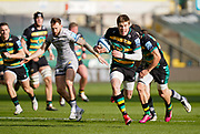 Northampton Saints wing Tommy Freeman makes a break during a Gallagher Premiership Round 13 Rugby Union match, Saturday, Mar. 13, 2021, in Northampton, United Kingdom. (Steve Flynn/Image of Sport)