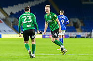 CELE Birmingham City's Marc Roberts (4) celebrates scoring the opening goal with his team mate Jon Toral (23)*** during the EFL Sky Bet Championship match between Cardiff City and Birmingham City at the Cardiff City Stadium, Cardiff, Wales on 16 December 2020.