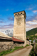 Stone medieval Svaneti tower houses of Lashtkhveri village in the Caucasus mountains, Upper Svaneti, Samegrelo-Zemo Svaneti, Mestia, Georgia.  A UNESCO World Heritage Site. .<br /> <br /> Visit our REPUBLIC of GEORGIA HISTORIC PLACES PHOTO COLLECTIONS for more photos to browse, download or buy as wall art prints https://funkystock.photoshelter.com/gallery-collection/Pictures-Images-of-Georgia-Country-Historic-Landmark-Places-Museum-Antiquities/C0000c1oD9eVkh9c