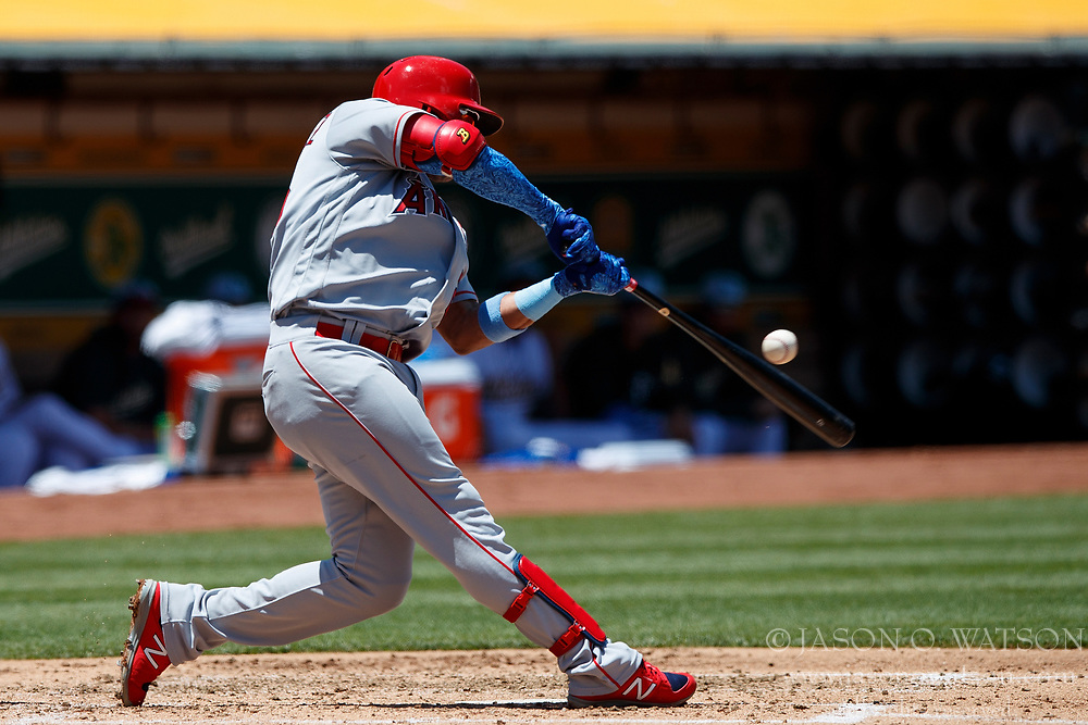 OAKLAND, CA - JUNE 17: Jose Fernandez #20 of the Los Angeles Angels of Anaheim at bat against the Oakland Athletics during the third inning at the Oakland Coliseum on June 17, 2018 in Oakland, California. The Oakland Athletics defeated the Los Angeles Angels of Anaheim 6-5 in 11 innings. (Photo by Jason O. Watson/Getty Images) *** Local Caption *** Jose Fernandez