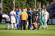 Luton Town manager Nathan Jones approaches the ref after the EFL Sky Bet League 1 match between Peterborough United and Luton Town at London Road, Peterborough, England on 18 August 2018.