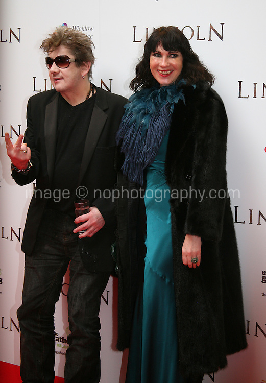 Shane MacGowan and Victoria Mary Clarke at the Lincoln film premiere Savoy Cinema in Dublin, Ireland. Sunday 20th January 2013.