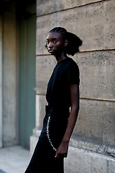 Street style, model after Valentino Spring-Summer 2019 menswear show held at Musee des Arts Decoratifs, in Paris, France, on June 20th, 2018. Photo by Marie-Paola Bertrand-Hillion/ABACAPRESS.COM