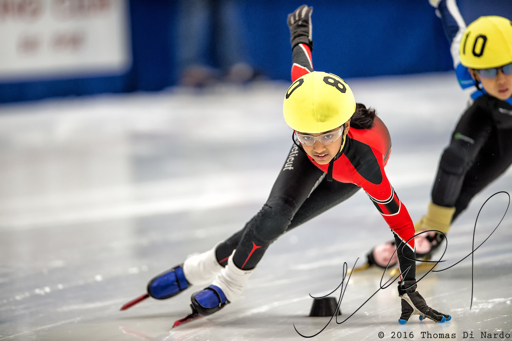 March 20, 2016 - Verona, WI - Salome Lokesh, skater number 80 competes in US Speedskating Short Track Age Group Nationals and AmCup Final held at the Verona Ice Arena.