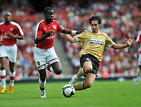 Photo: Tony Oudot/Richard Lane Photography. Arsenal v Juventus. Emirates Cup. 02/08/2008. <br /> Emmanuel Eboue of Arsenal takes on Cardoso Mendes Tiago of Juventus