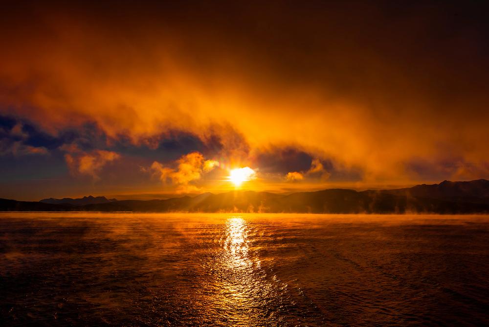 Sea fog along the Arctic coastline of Northern Norway, near Finnsnes.
