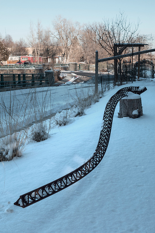 Dragons Tail<br /> #1 of my 'structural steel' series<br /> 22' long sculpture, steel, handmade