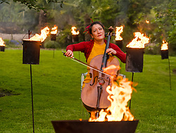 EMBARGOED UNTIL 10AM, WEDNESDAY 2 JUNE<br /> Edinburgh International Festival, Edinburgh, Scotland, United Kingdom: <br /> Pictured: Su-a Lee, cellist, in the Royal Botanic Garden.<br /> Edinburgh International Festival pioneers the return of live performance in Scotland from 7–29 August with a diverse programme of UK and international artists. This year's programme features over 170 classical and contemporary music, theatre, opera, dance and spoken word performances, including 15 new commissions and premieres. Audience safety is key with measures including outdoor venues, social distancing, shorter performances without intervals, audience members in bubbles and, for the first time, online access to free performances.   <br /> Sally Anderson | EdinburghElitemedia.co.uk