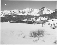 A winter view at Lizard Head with RGS snowshed, section house and stock pens.<br /> RGS  Lizard Head, CO  Taken by Richardson, Robert W. - 11/17/1951<br /> See RD137-120 for an almost identical companion picture, taken by Richardson on 11/17/1951.