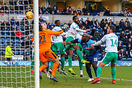 **Correction** Goal 1-0 Wycombe Wanderers Plymouth Argyle defender Yann Songo'o (4) scores an own goal during the EFL Sky Bet League 1 match between Wycombe Wanderers and Plymouth Argyle at Adams Park, High Wycombe, England on 26 January 2019.