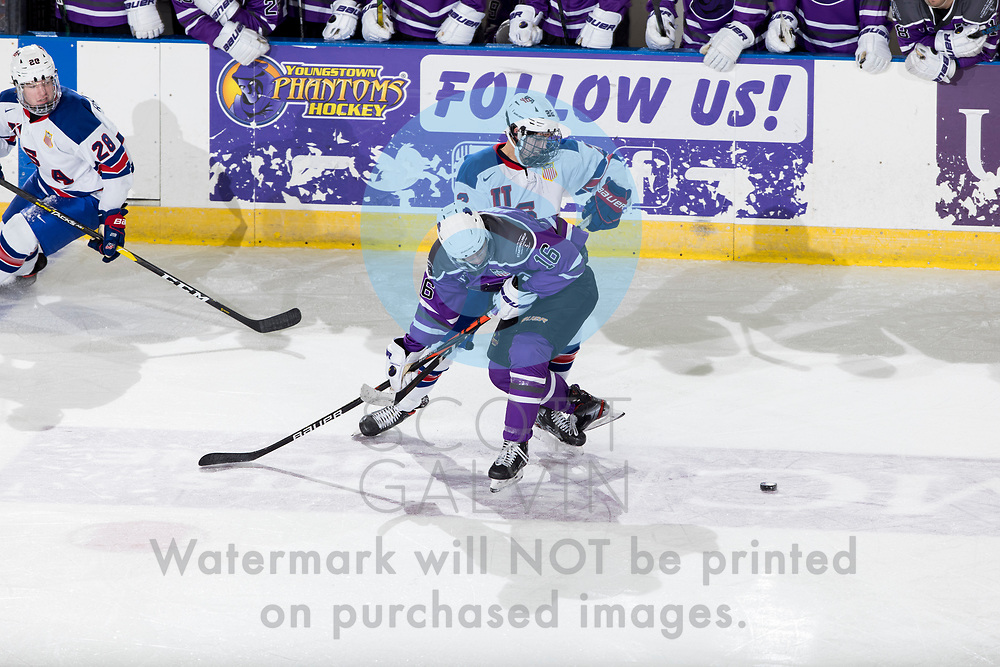 The Youngstown Phantoms defeat Team USA U-18 5-2 at the Covelli Centre on January 30, 2021.<br /> <br /> Jack Larrigan, forward, 16