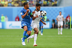 June 22, 2018 - Sao Petesburgo, Vazio, Russia - Thiago Silva of Brasil and Yeltsin Tejeda of Costa Rica during the match between Brazil and Costa Rica for the second round of group E of the 2018 World Cup, held at Saint Petersburg Stadium, St. Petersburg, Russia. Game ended scoreless. (Credit Image: © Thiago Bernardes/Pacific Press via ZUMA Wire)