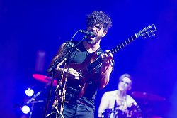 © Licensed to London News Pictures. 06/09/2014. Isle of Wight, UK. Foals performing live at Bestival 2014 Day 3 Saturday. In this picture Yannis Philippakis (left), Jack Bevan (right).  Foals are an English indie rock band from consisting of members Yannis Philippakis (lead vocals, lead guitar,drums), Jack Bevan (drums), Jimmy Smith (rhythm guitar), Walter Gervers (bass), Edwin Congreave (keyboards).  This weekend's headliners include Chic featuring Nile Rodgers, Foals and Outcast.   Bestival is a four-day music festival held at the Robin Hill country park on the Isle of Wight, England. It has been held annually in late summer since 2004.    Photo credit : Richard Isaac/LNP