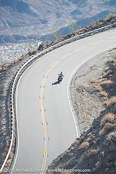 Mike Bell of Texas riding his 1916 Harley-Davidson heads up the steep mountain pass just out of Palm Desert on the Palms to Pines Scenic Byway on the last day of the Motorcycle Cannonball Race of the Century. Stage-15 ride from Palm Desert, CA to Carlsbad, CA. USA. Sunday September 25, 2016. Photography ©2016 Michael Lichter.