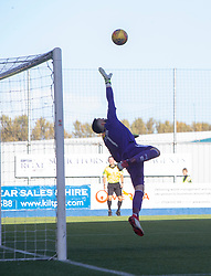 Falkirk's keeper Leonardo Fasan can't stop Dundee United's Craig Curran elder for their second goal. Falkirk 0 v 2 Dundee United, Scottish Championship game played 22/9/2018 at The Falkirk Stadium.