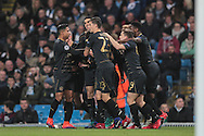 Celtic players celebrate taking the lead  during the Champions League match between Manchester City and Celtic at the Etihad Stadium, Manchester, England on 6 December 2016. Photo by Mark P Doherty.