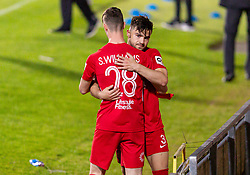 WREXHAM, WALES - Thursday, September 17, 2020: Connah's Quay Nomads' Sam Williams (L) consoles Callum James Roberts as FC Dinamo Tiblisi win 1-0 thanks to an injury time penalty during the UEFA Europa League Second Qualifying Round match between Connah's Quay Nomads FC and FC Dinamo Tbilisi at the Racecourse Ground. Dinamo Tiblisi won 1-0. (Pic by David Rawcliffe/Propaganda)