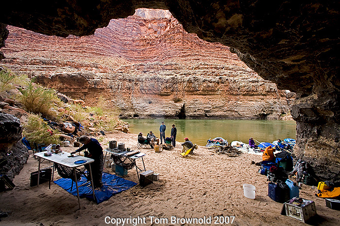 Private river trip camp at Cave Springs. River Mile 25.5+/-.  Anticipating a wet night we camped here for the shelter it provided