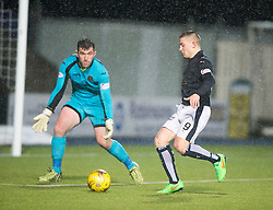 Falkirk's John Baird threw on Dumbarton's Mark Brown. <br /> Falkirk 1 v 0 Dumbarton, Scottish Championship game played 26/12/2015 at The Falkirk Stadium.