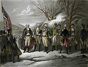 Revolutionary War 1775-1783 (American War of Independence): George Washington, left, with other officers including De Kalb, Von Steuben, Pulaski, Kosciouszko, Lafayette and Muhlenberg.  Coloured print after Frederick Girsch (1821-1895).