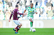 Scott Sinclair(#11) of Celtic FC takes on Michael Smith (#2) of Heart of Midlothian during the Betfred League Cup semi-final match between Heart of Midlothian FC and Celtic FC at the BT Murrayfield Stadium, Edinburgh, Scotland on 28 October 2018.