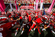 BLOOMINGTON, IN - OCTOBER 07, 2017 - Indiana Hoosiers football team running out during the football game against Charleston Southern Buccaneers and the Indiana Hoosiers Bloomington, IN. Photo By Craig Bisacre/Indiana Athletics
