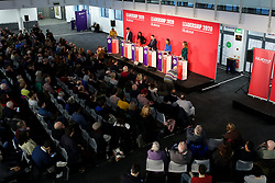 © Licensed to London News Pictures. 16/02/2020. London, UK. Labour Party deputy leadership candidates RICHARD BURGON MP for Leeds East and Shadow Secretary of State for Justice and Shadow Lord Chancellor, DAWN BULTER MP for Brent South and Shadow Secretary of State for Women and Equalities, IAN MURRAY MP for Edinburgh South, DR ROSENA ALLIN-KHAN MP for for Tooting and ANGELA RAYNER MP for Ashton-under-Lyne (L to R) at a hustings event hosted by the Co-operative Party held at Business Design Centre, north London. Photo credit: Dinendra Haria/LNP