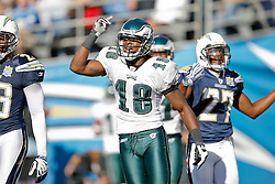 Philadelphia Eagles wide receiver Jeremy Maclin #18 reacts after a play during the NFL game between the Philadelphia Eagles and the San Diego Chargers on November 15th 2009. At Qualcomm Stadium in San Diego, California. (Photo By Brian Garfinkel)