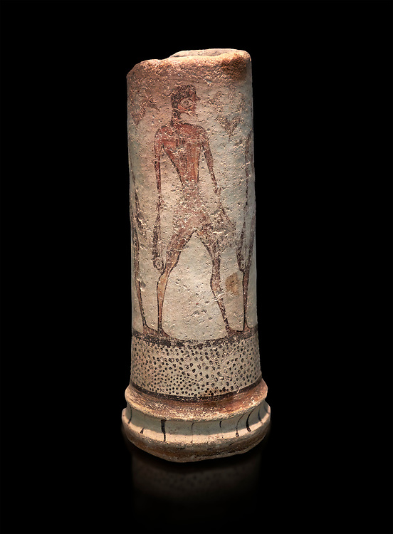 Cycladic cylindrical vase illustrated with a fisherman (1600 BC) , Phylakopi III, Melos. National Archaeological Museum Athens. Cat No 5782.<br /> <br /> The vase has a procession of 4 fishermen illustrated on iy running all the way round it. .<br /> <br /> If you prefer to buy from our ALAMY PHOTO LIBRARY  Collection visit : https://www.alamy.com/portfolio/paul-williams-funkystock/cycladic-art-artefacts.html Type into the LOWER SEARCH WITHIN GALLERY box to refine search by adding background colour, place, museum etc<br /> <br /> Visit our CYCLADIC CIVILISATIONS PHOTO COLLECTIONS for more photos to download or buy as wall art prints https://funkystock.photoshelter.com/gallery-collection/Cycladic-civilisation-Ancient-Greek-Artefacts-art-Photos-Pictures-Images/C0000CmevVvnC.XU