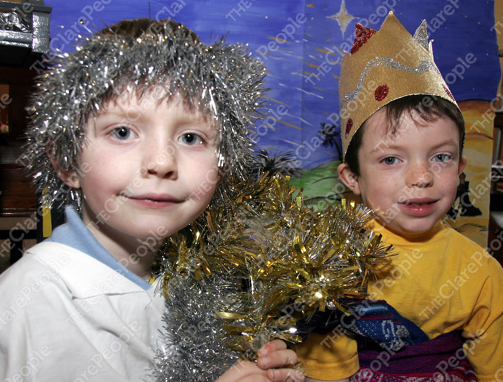 Morris Donnellan and James Sexton take a bit of a bread as they got ready for their Nativity play on Christmas Eve in Mullagh last Wednesday .<br /> <br /> Photograph by Yvonne Vaughan.