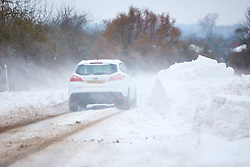 © Licensed to London News Pictures. 02/03/2018. Wendover, UK. Drifting snow is causing significant problems on rural Buckinghamshire roads. Nationwide the UK is experiencing its four day of heavy snow causing travel chaos.  Photo credit: Cliff Hide/LNP