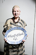 """Dame Vivienne Westwood on stage with her son Joe Corre at  Fracking Hell night hosted by Dame Vivienne Westwood & her son Joe Corre on Saturday 4th October. 2014.<br /> <br /> <br /> Fracking Hell was in association with a transvestite night called """"Handsome"""" to raise awareness and appeal to the gay vote to look at Fracking."""