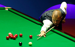Barry Hawkins in action against Stephen Maguire, on day twelve of the Betfred Snooker World Championships at the Crucible Theatre, Sheffield. PRESS ASSOCIATION Photo. Picture date: Wednesday April 26, 2017. See PA story SNOOKER World. Photo credit should read: Martin Rickett/PA Wire