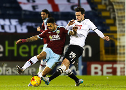 Burnley's Andre Gray and George Thorne of Derby County  - Mandatory byline: Matt McNulty/JMP - 25/01/2016 - FOOTBALL - Turf Moor - Burnley, England - Burnley v Derby County - Sky Bet Championship