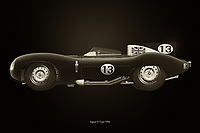 Jaguar Type D 1956<br /> Like its predecessor Jaguar C-Type, the Jaguar D-Type is a factory-built racing car. The Jaguar D-Type had a straight-XK engine design. At the beginning it was a 3.4 engine, later also a 3.8, together with the C-Type a revolutionary car in terms of aerodynamics and monocoque chassis. The D-Type was produced purely for motorsport, but after Jaguar stopped building the car for motorsport, the company offered the unfinished chassis as the public-road version of the JaguarXKSS - –<br /> <br /> BUY THIS PRINT AT<br /> <br /> FINE ART AMERICA<br /> ENGLISH<br /> https://janke.pixels.com/featured/jaguar-type-d-1956-black-and-white-jan-keteleer.html<br /> <br /> WADM / OH MY PRINTS<br /> DUTCH / FRENCH / GERMAN<br /> https://www.werkaandemuur.nl/nl/shopwerk/Jaguar-Type-D/743368/132?mediumId=11&size=75x50<br /> <br /> -