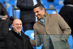 Manchester City Chairman Khaldoon Al Mubarak (right) shares joke with Tottenham Hotspur Chairman Daniel Levy