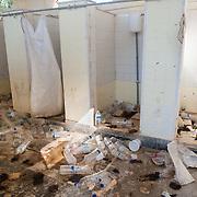 Men's toilets in Moria camp.