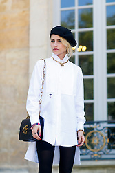 Street style, Caroline Daur arriving at Dior Fall-Winter 2018-2019 Haute Couture show held at Musee Rodin, in Paris, France, on July 2nd, 2018. Photo by Marie-Paola Bertrand-Hillion/ABACAPRESS.COM