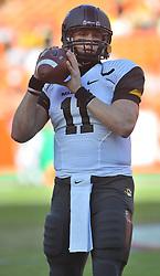 Nov 28, 2009; Kansas City, MO, USA; Missouri quarterback Blaine Gabbert (11) warms up before thet game against the Kansas Jayhawks at Arrowhead Stadium. Mandatory Credit: Denny Medley-US PRESSWIRE