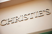 London, UK. Friday 23rd November 2012. Christies auction house sign.