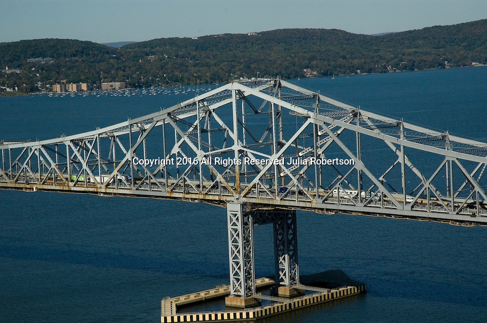 Aerial view of the Original Tappan Zee Bridge over the Hudson River view towards New York